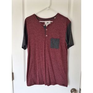 Men's On the Byas Maroon Short Sleeve 3 Button